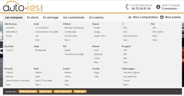 Choix des marques sur Auto-IES.com