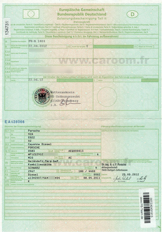 carte grise allemande Fahrzeugbrief