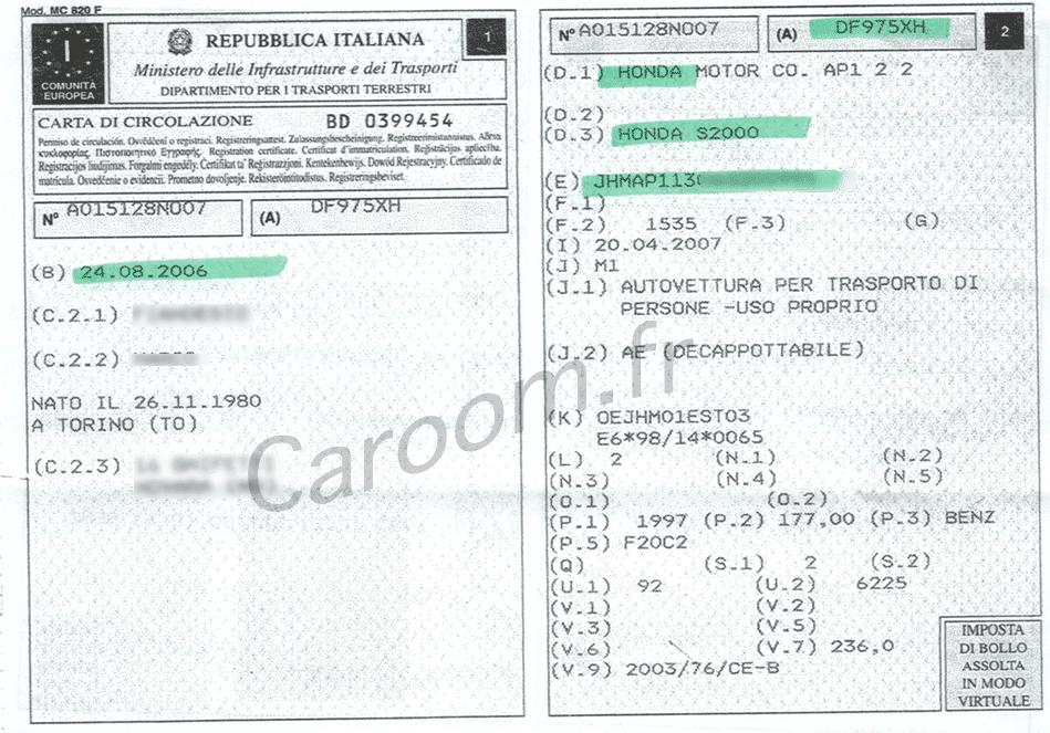 Avant du libretto (certificat d'immatriculation italien)