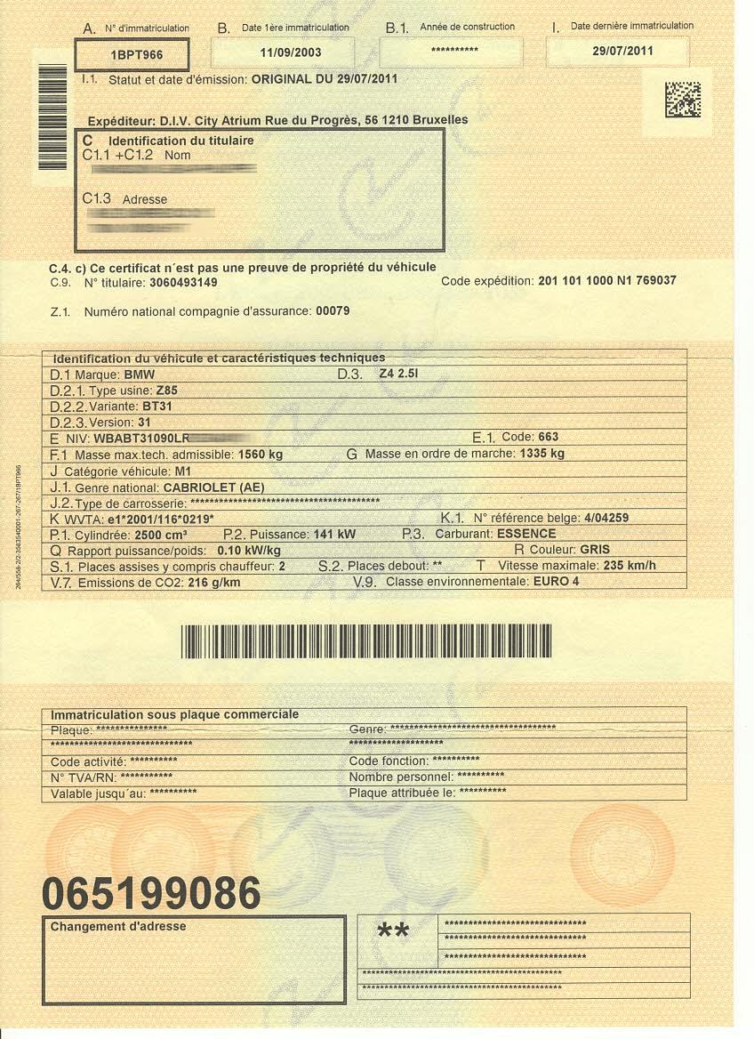 carte grise belge ancienne version, verso
