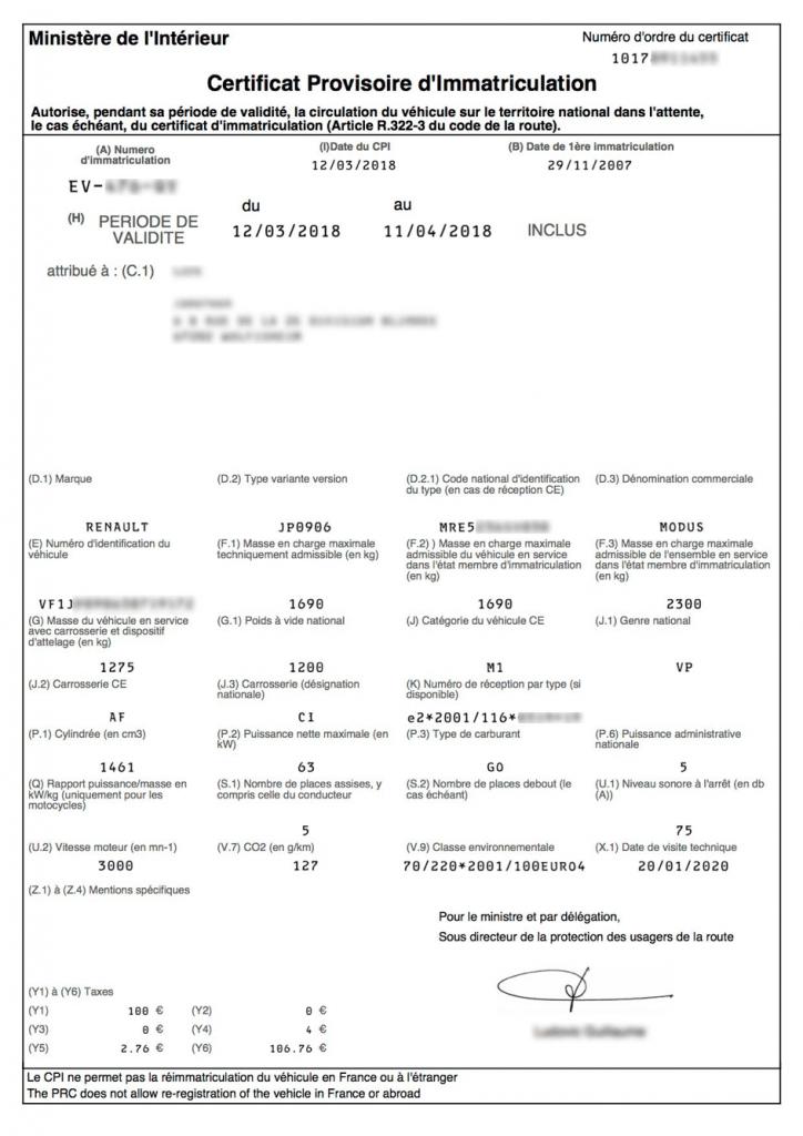 CPI (certificat provisoire d'immatriculation) en ligne ANTS pour véhicule importé