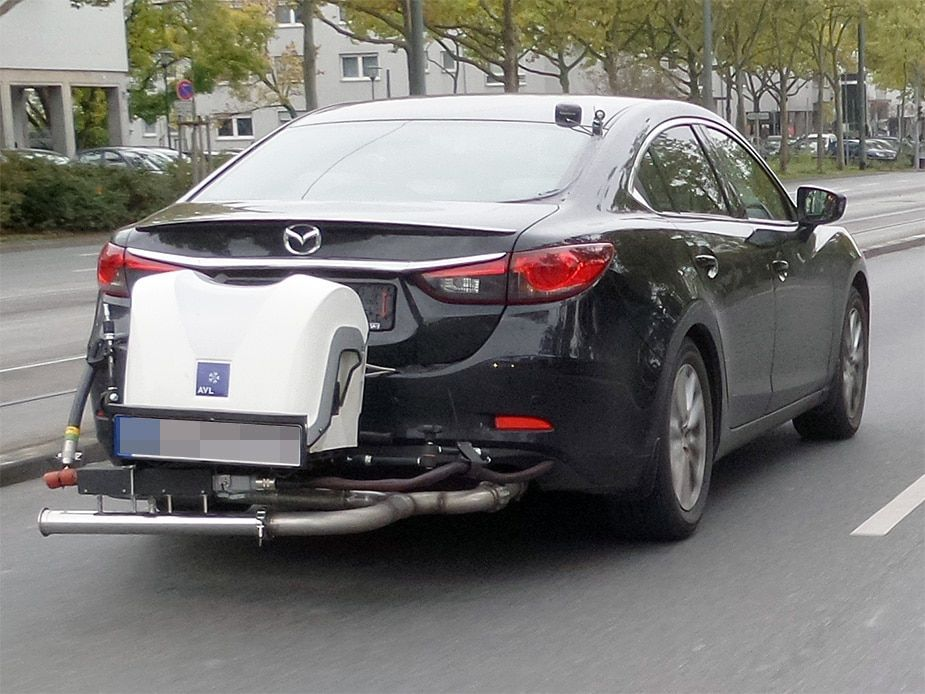 Mazda 6 testée à l'aide d'un système PEMS