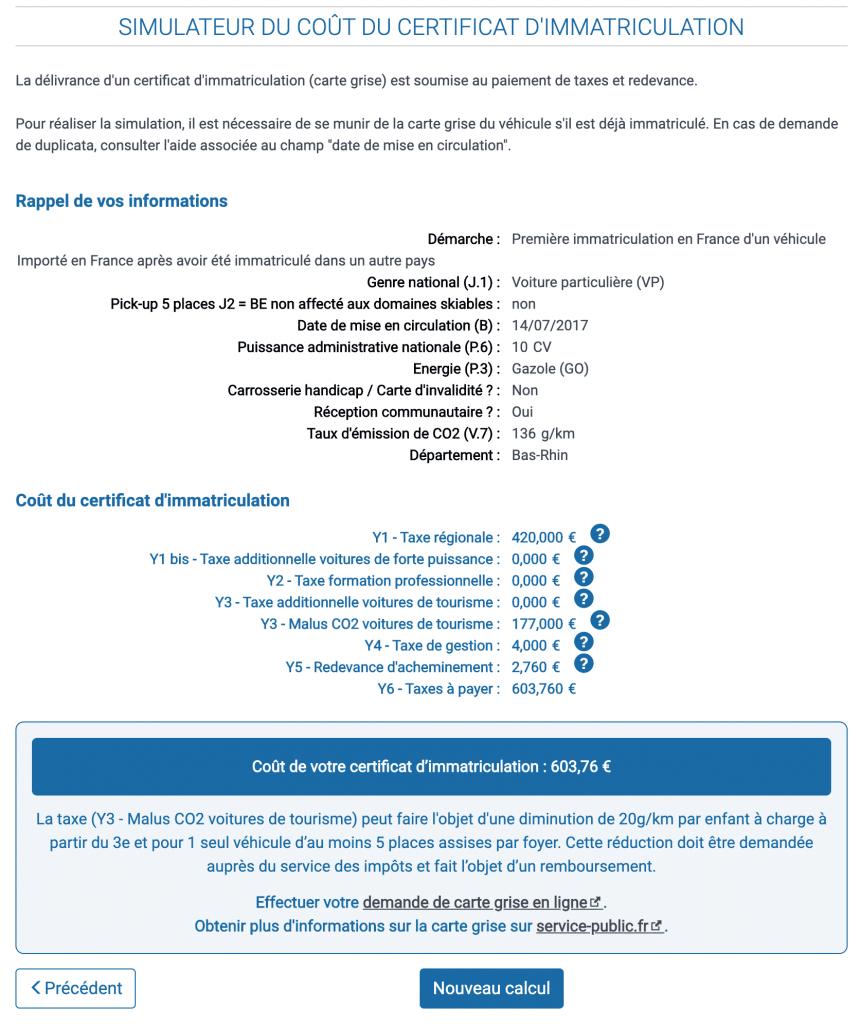 Le calcul du prix du malus et du certificat d'immatriculation d'un véhicule d'occasion d'Allemagne
