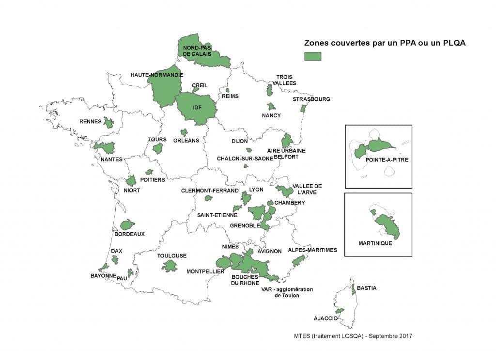 Carte Plan de Protection de l'Atmosphère