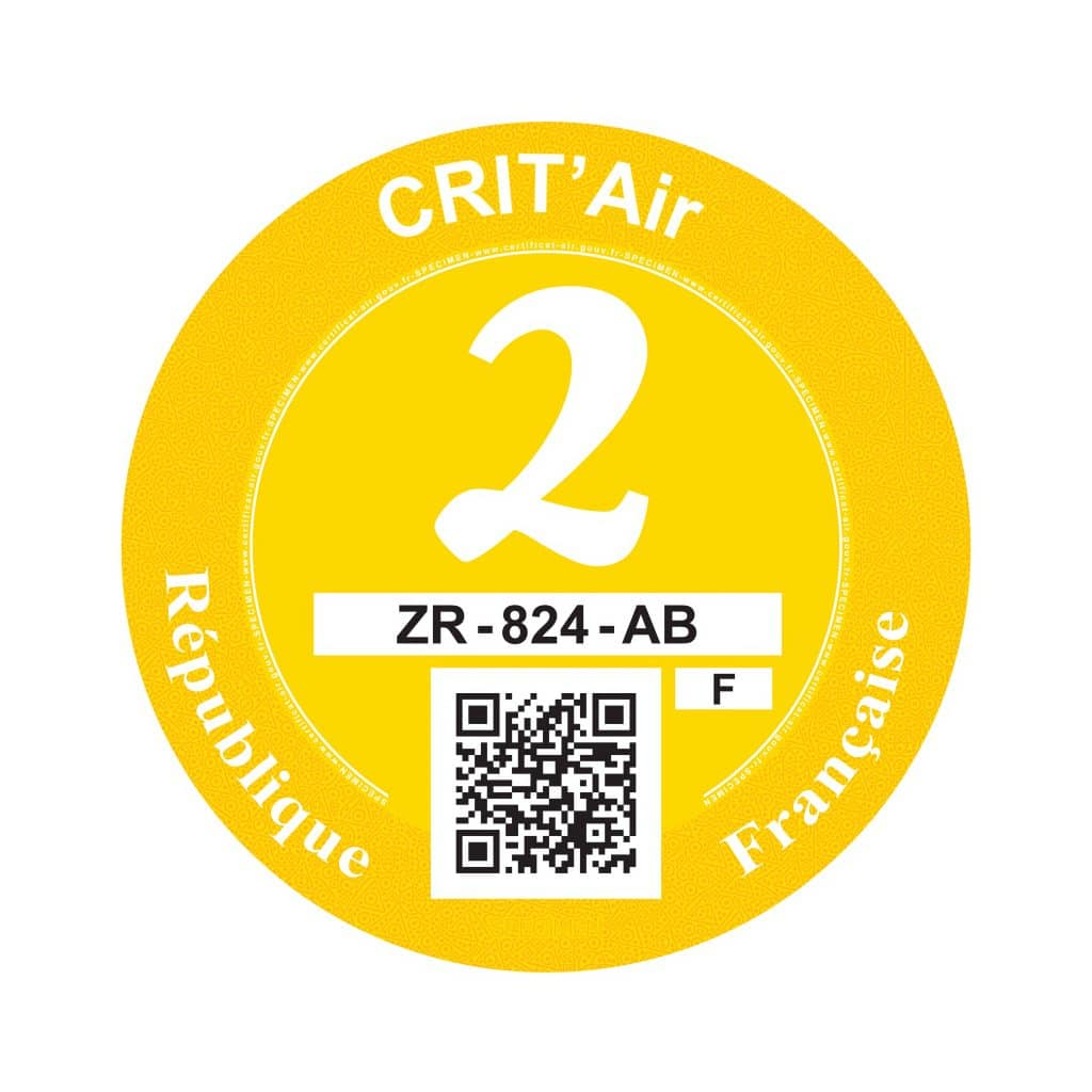 Crit'Air 2 pastille jaune