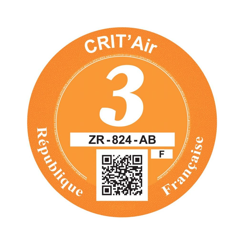 Crit'Air 3 pastille orange