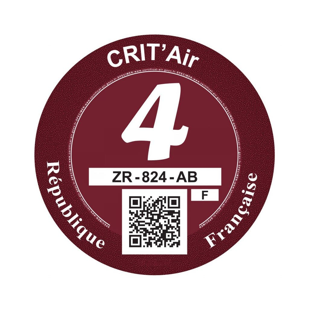 Crit'Air 4 pastille rouge