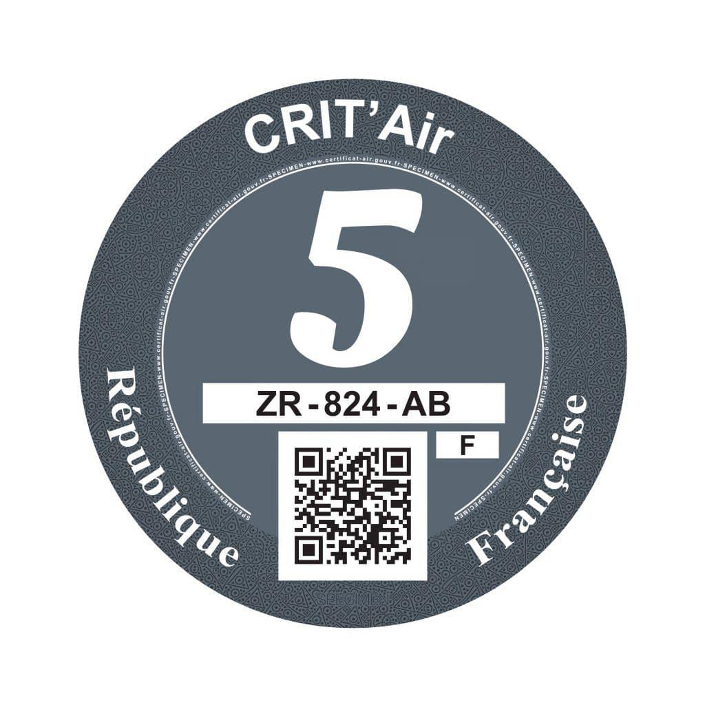 Crit'Air 5 pastille grise