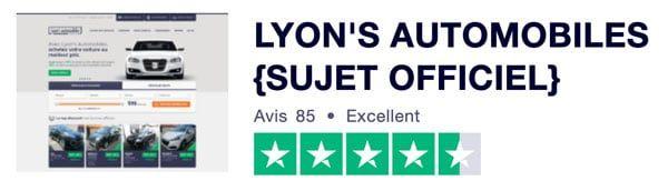 Note Trustpilot sur Lyon's Automobiles