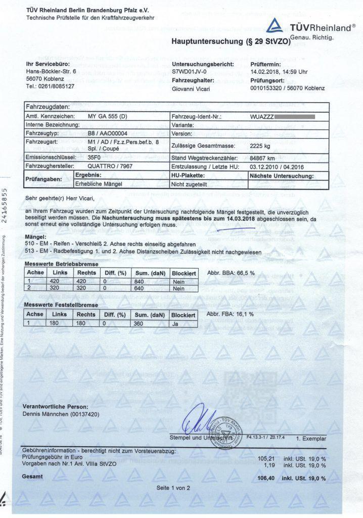Page du certificat de contrôle technique allemand (TÜV)