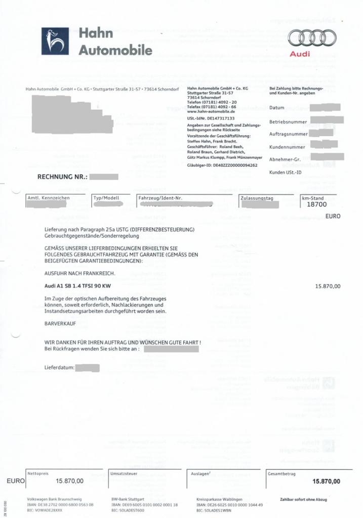 Exemple de facture de voiture d'occasion achetée en Allemagne sans TVA apparente (paragraphe 25A)