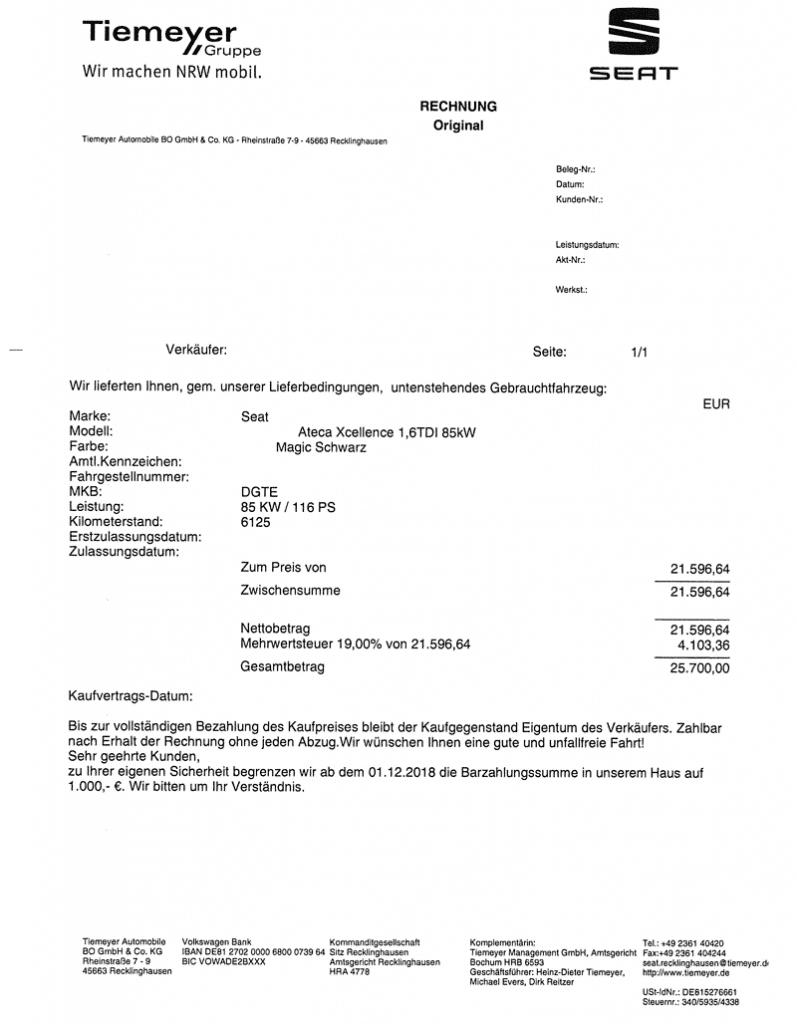 Exemple de facture de véhicule d'occasion avec TVA apparente acheté en Allemagne et destiné à l'import en France.
