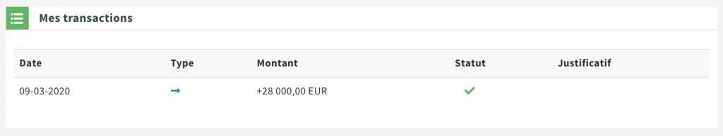 Virement sur PayCar