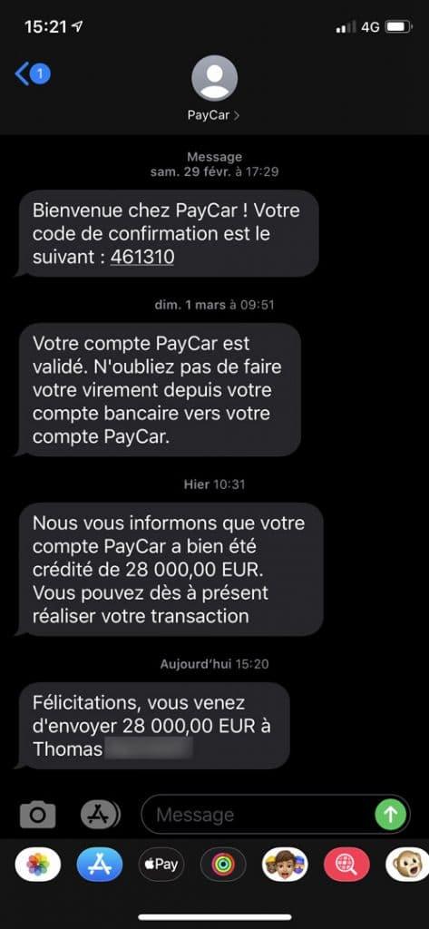 Le SMS de confirmation de PayCar