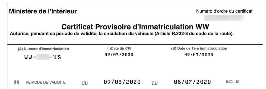 Le CPI WW permet de rouler avec sa nouvelle voiture importée pendant 4 mois