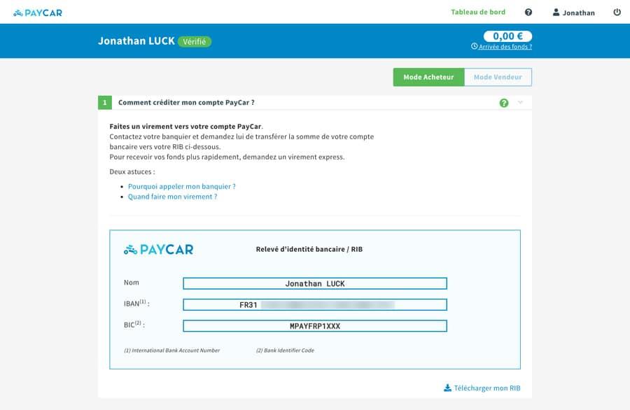 Création de mon compte PayCar