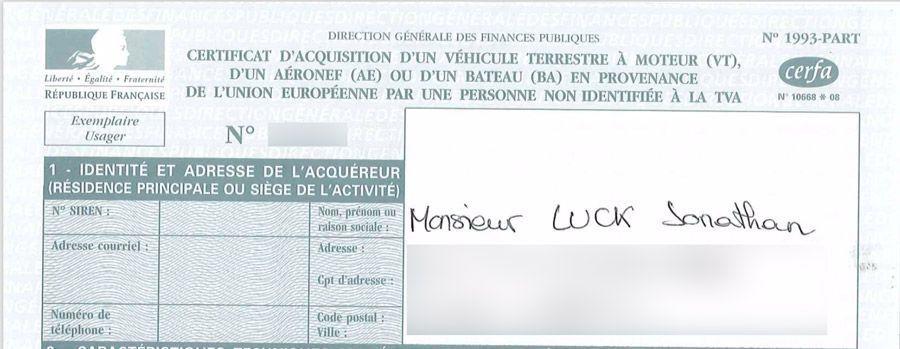 Le quitus fiscal fait partie des documents impératif lors de l'importation d'une voiture en France