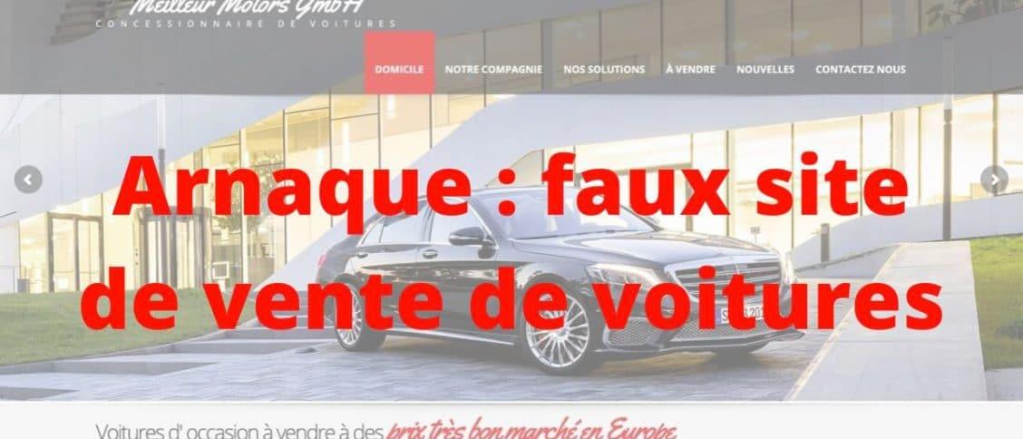 Une arnaque de vente de voiture avec un faux sites internet de vendeur auto