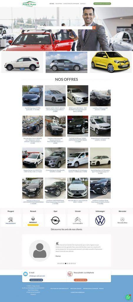 Le site Argus-auto-pro.com de la fausse société Elite Automobile 67