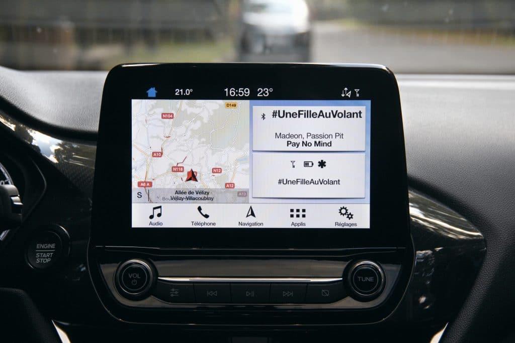 Écran tactile de la Ford Fiesta ST